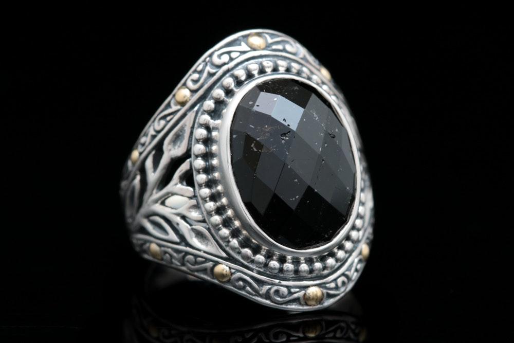 Robert Manse Sterling Silver, 18K Gold and Black Tourmaline Ring