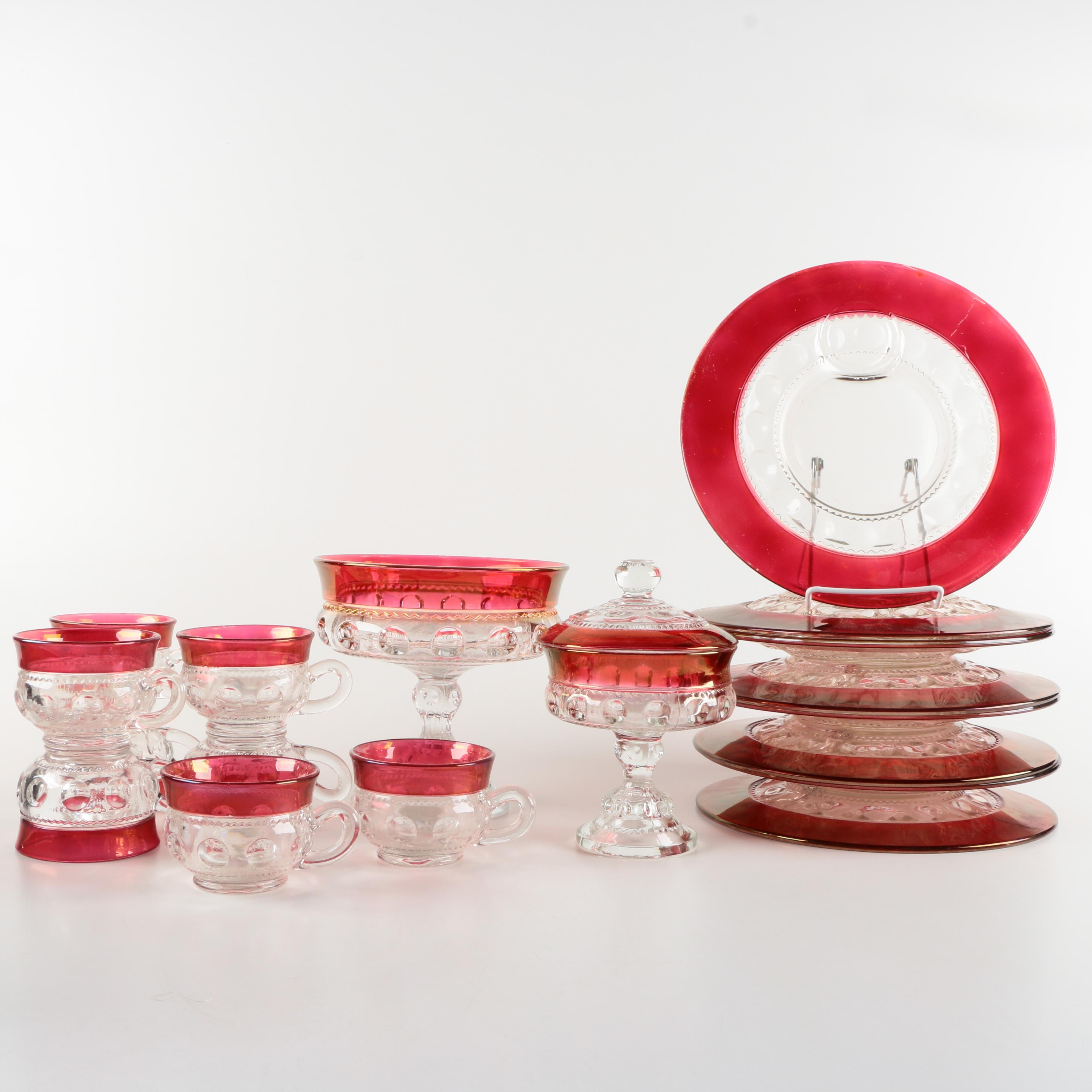 Ruby Flash Glassware Items