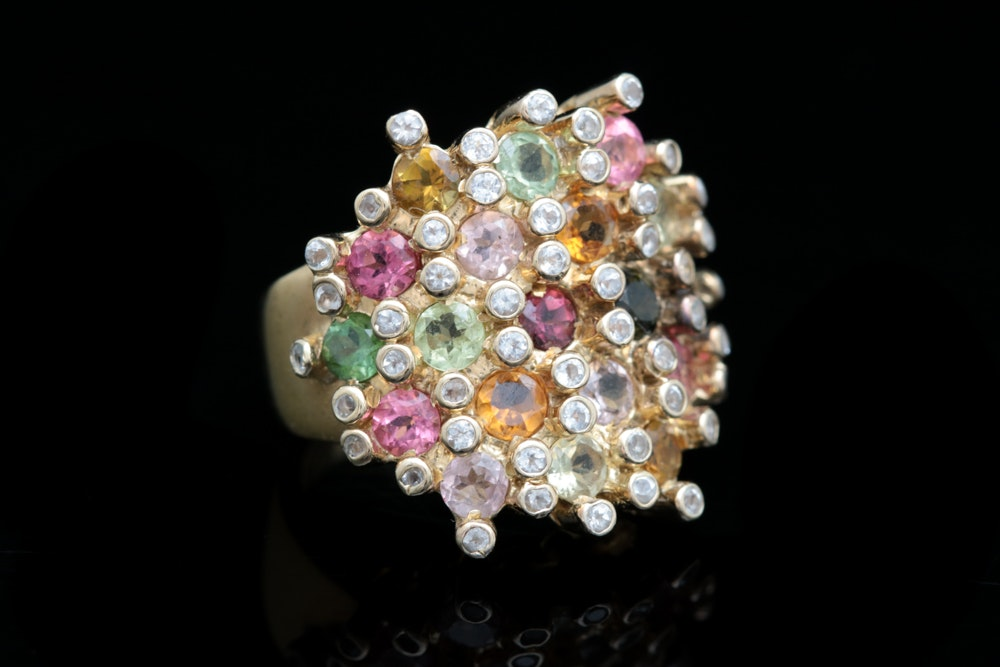 Gold Plated Sterling Silver and Multi Semi-Precious Gemstone Ring