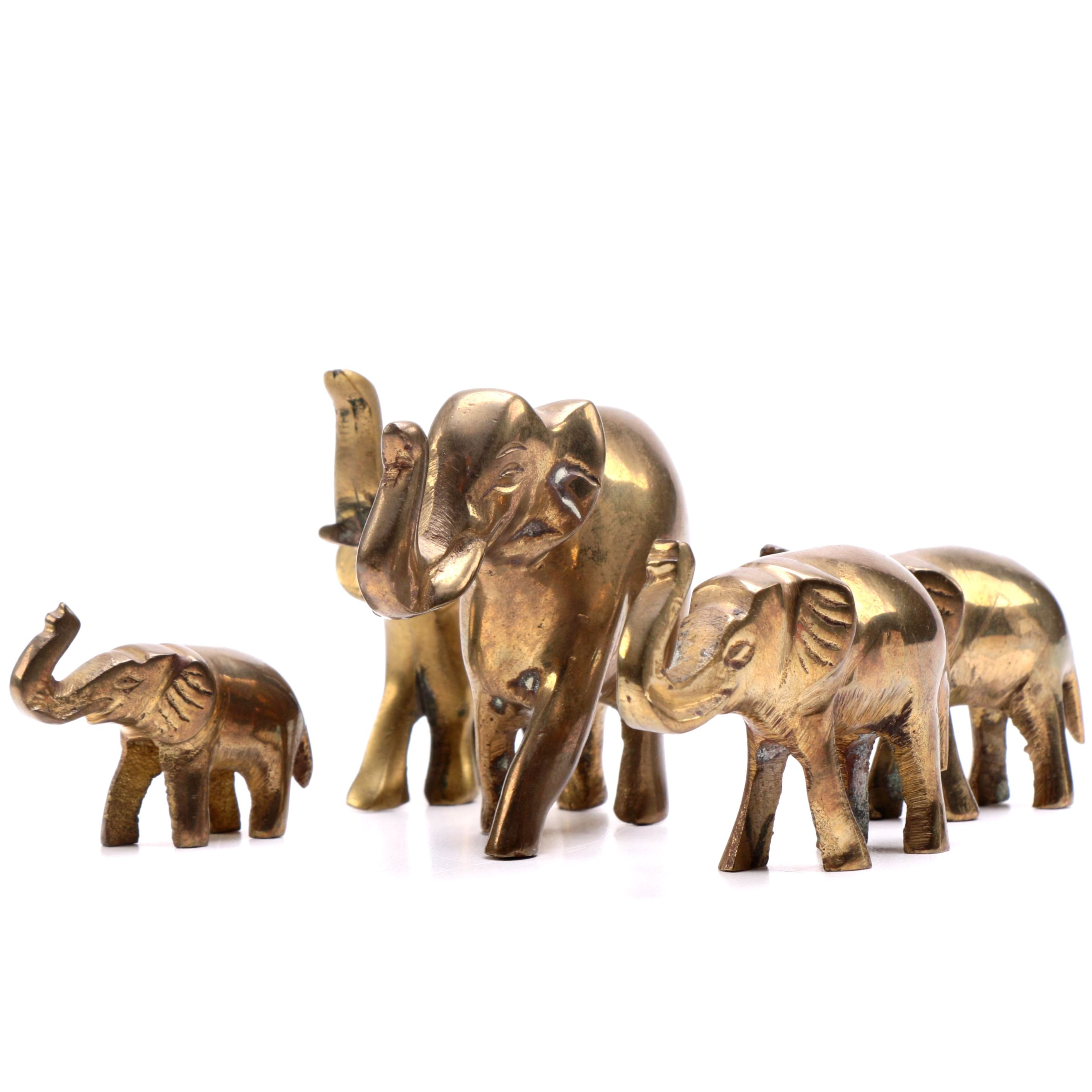 A Collection of Five Brass Elephants