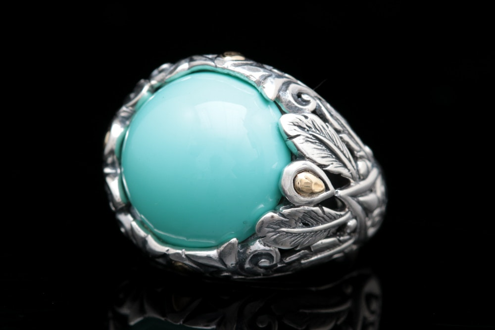 Robert Manse Sterling Silver, 18K Gold and Imitation Turquoise Ring