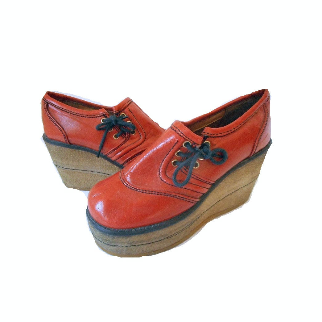 Vintage 1970s Orange Platform Shoes