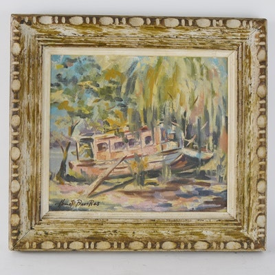 Howard Bauer Original Oil Painting of Boat