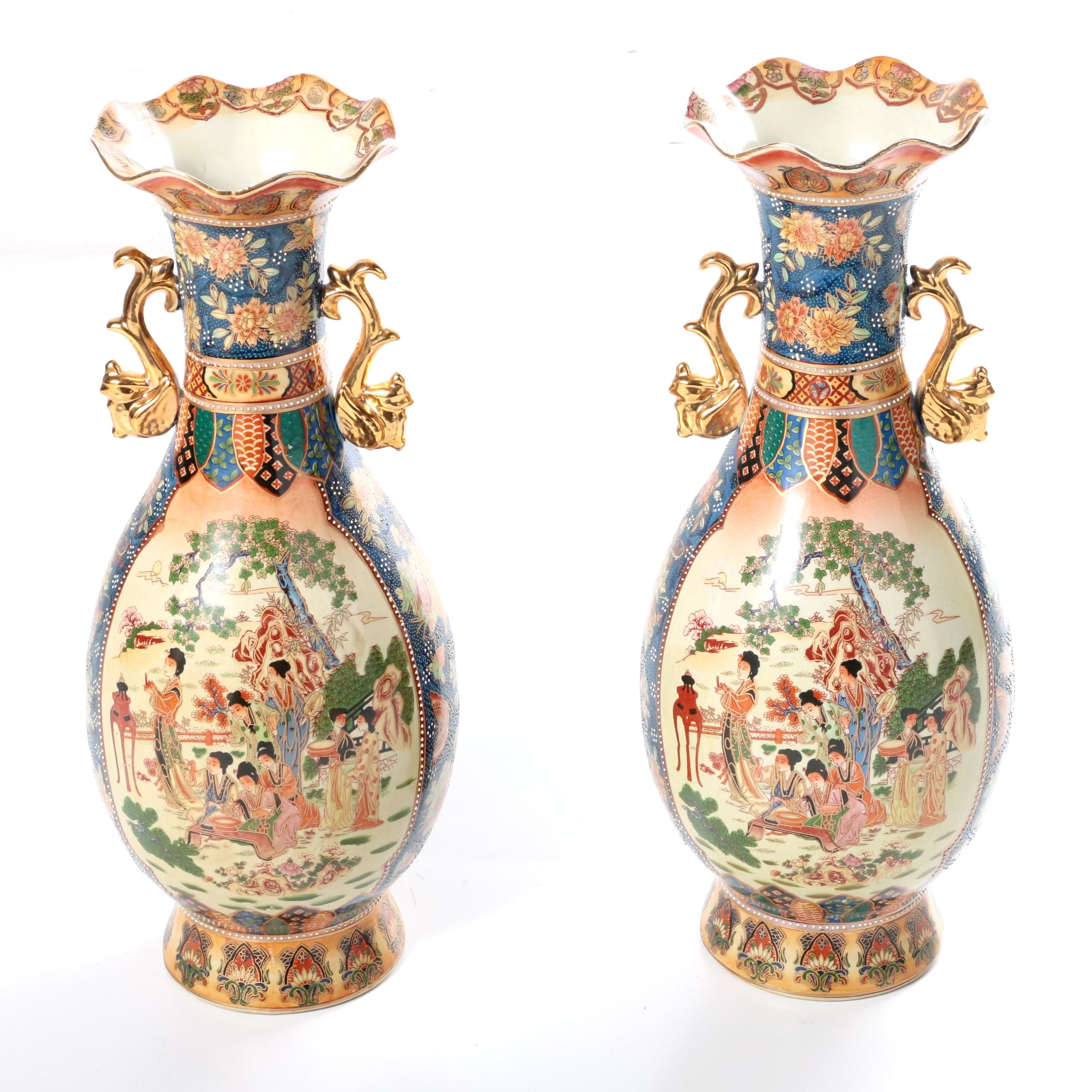Pair of Chinese Satsuma Style Ceramic Vases