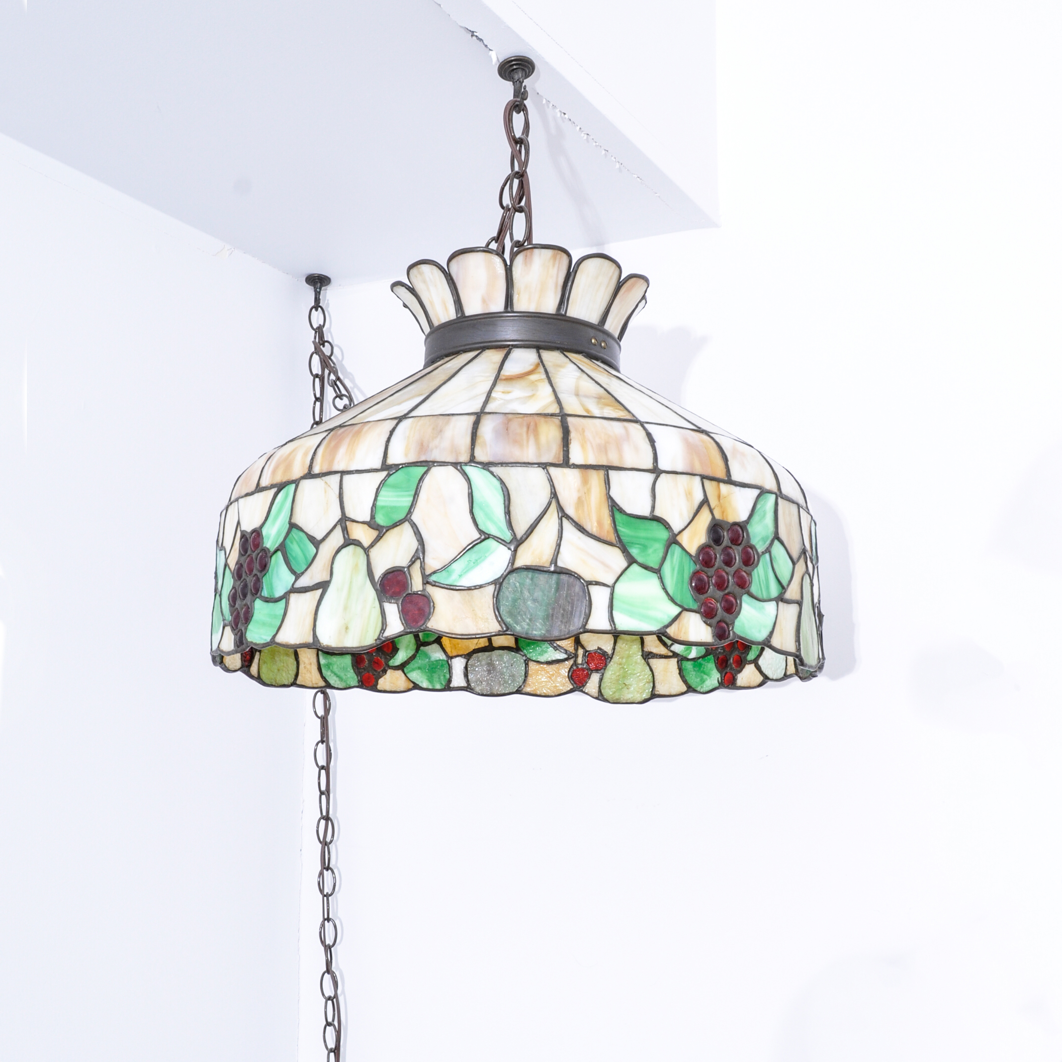 stained glass chandelier wrought iron stained glass chandelier ebth