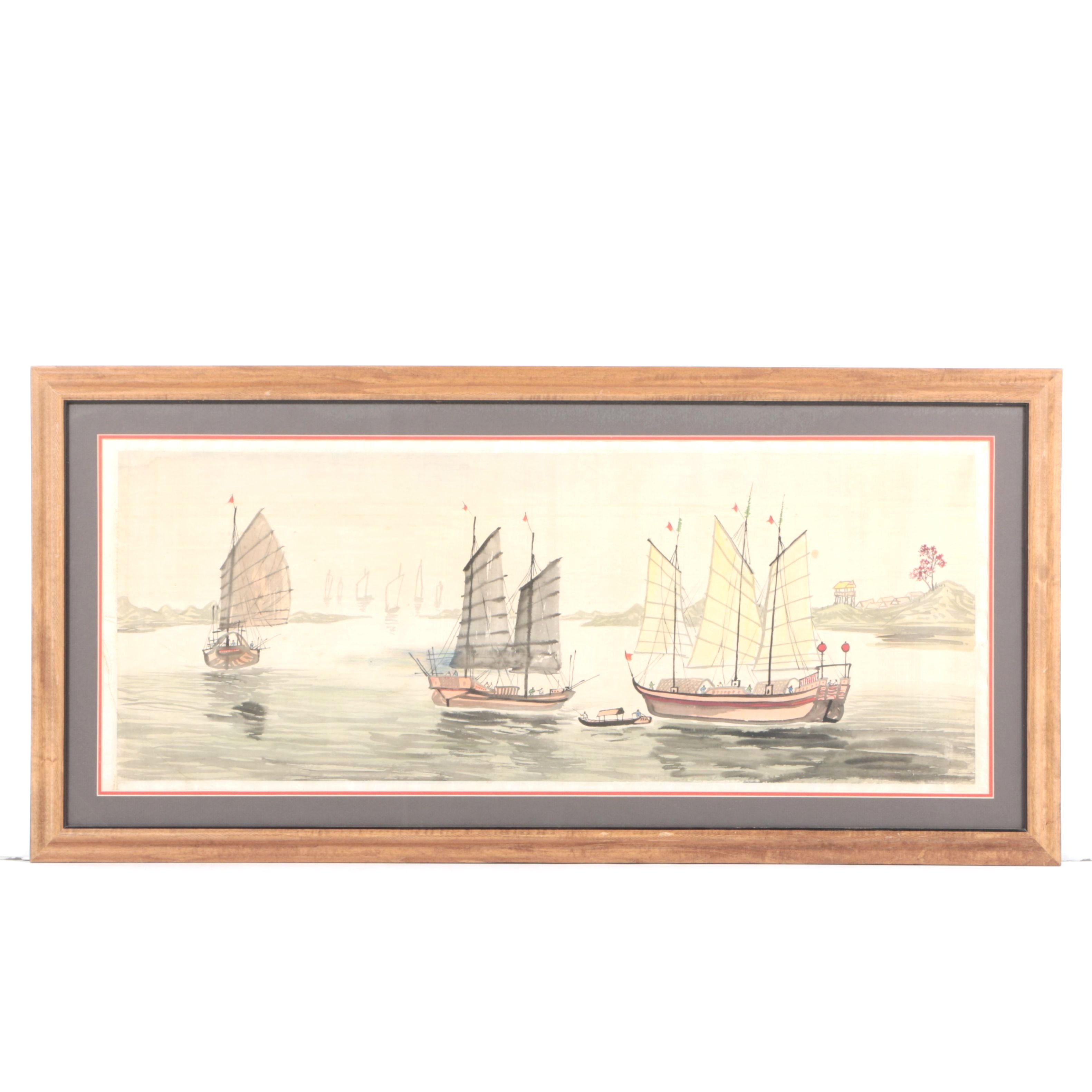 Ink Painting on Silk of Chinese Junk Ships