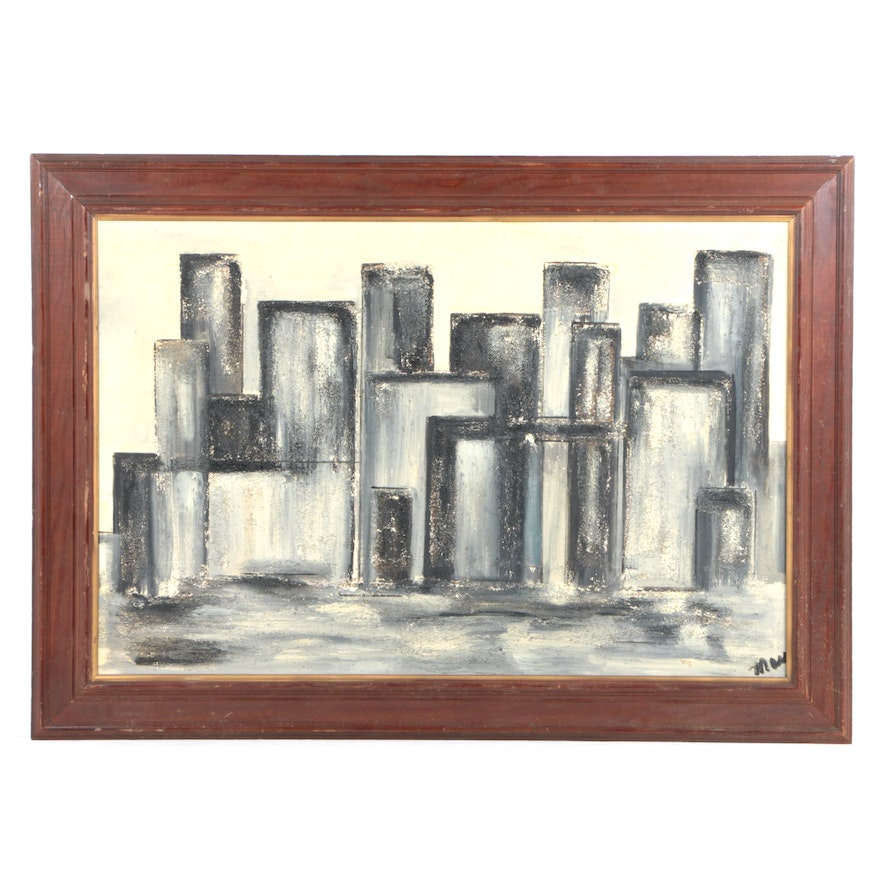 Signed Oil Painting of Abstract Composition