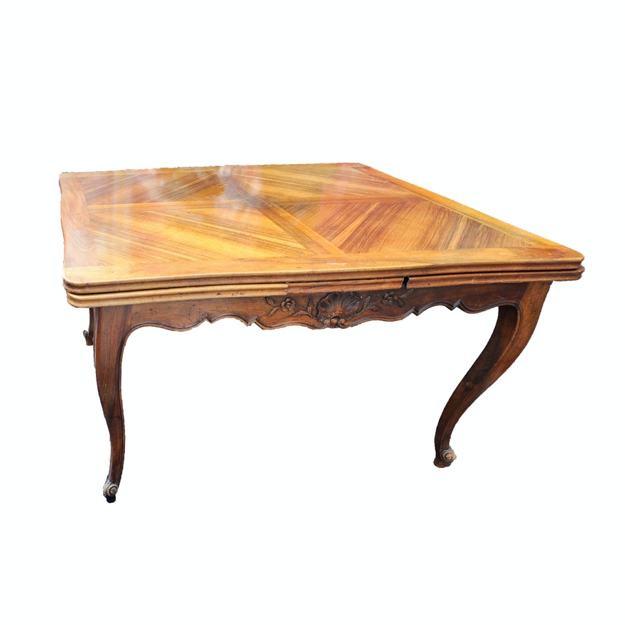 Antique louis xv style carved walnut extending dining - Table de chevet louis xv ...