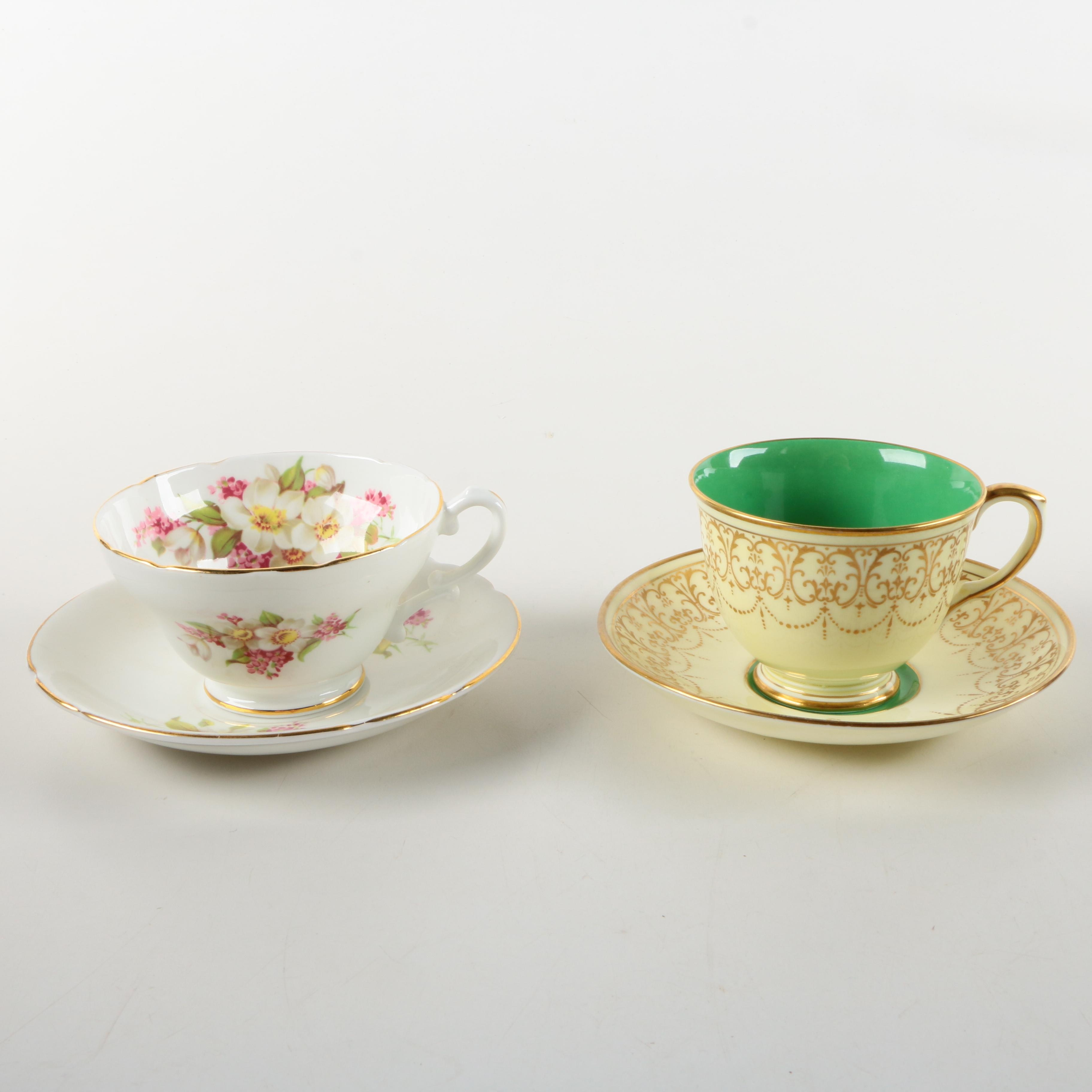Porcelain Teacups and Saucers Featuring Crown Staffordshire