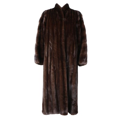 Full-Length Dark Brown Marten Fur Coat
