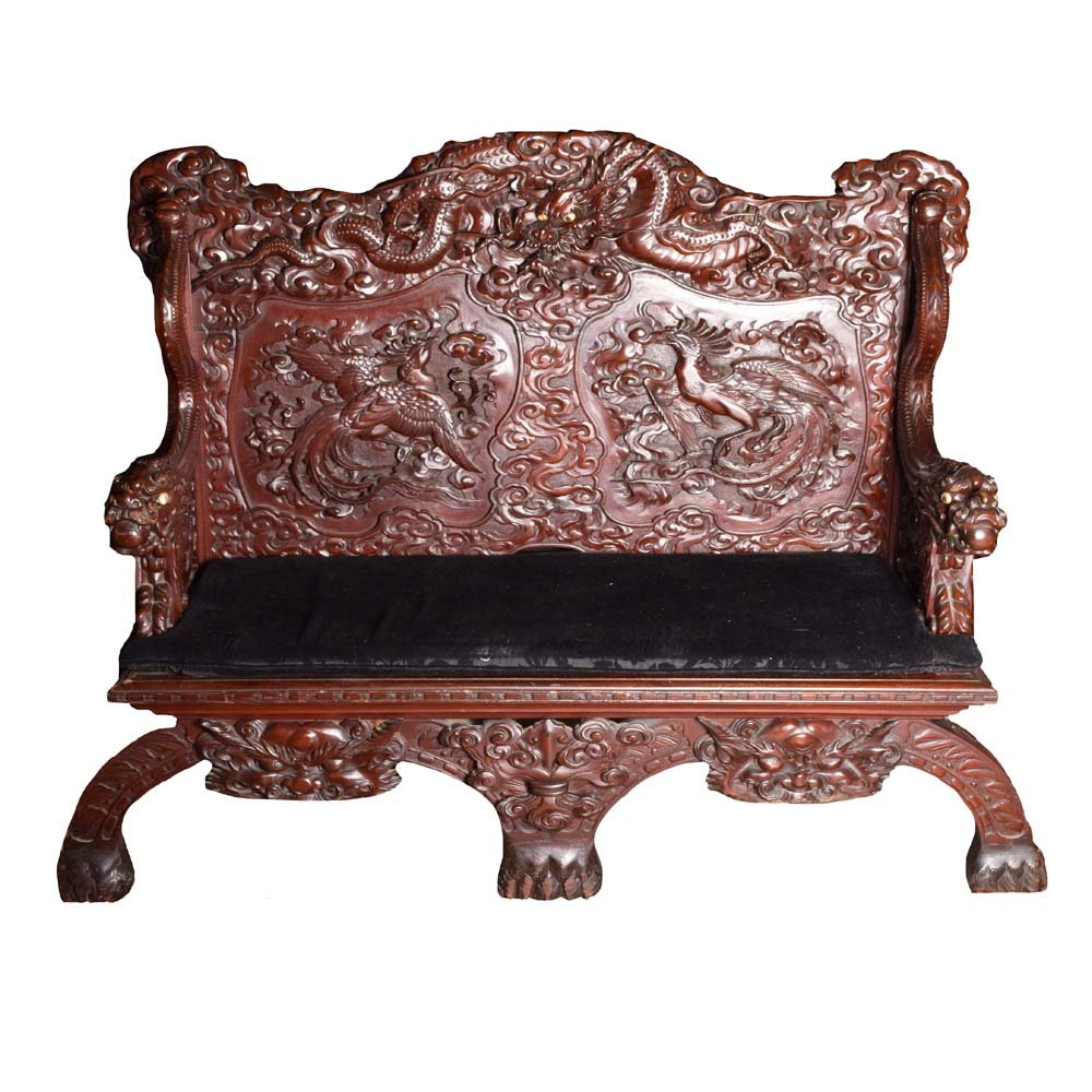 Chinese Carved Dragon Bench