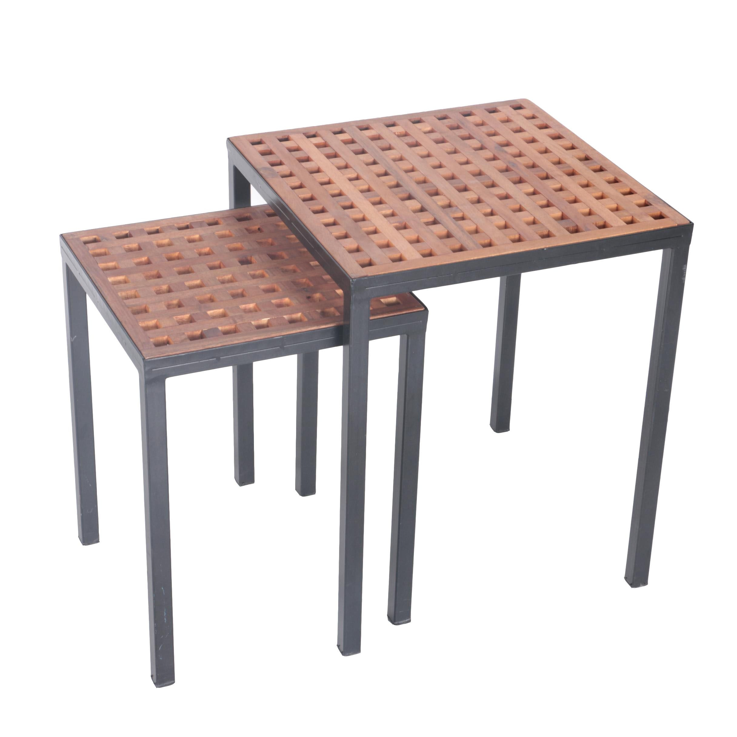 Two Nesting Tables With Lattice Panel Top
