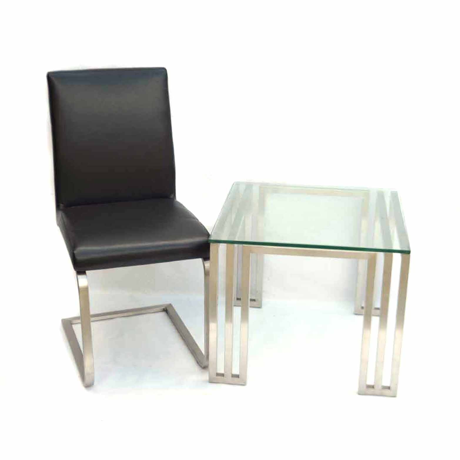 Mid Century Modern Glass-Topped Side Table with Black Side Chair