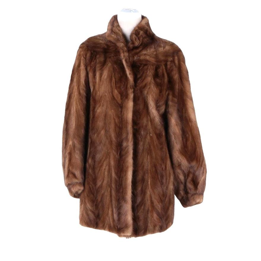 Brown Pawed Mink Fur Coat