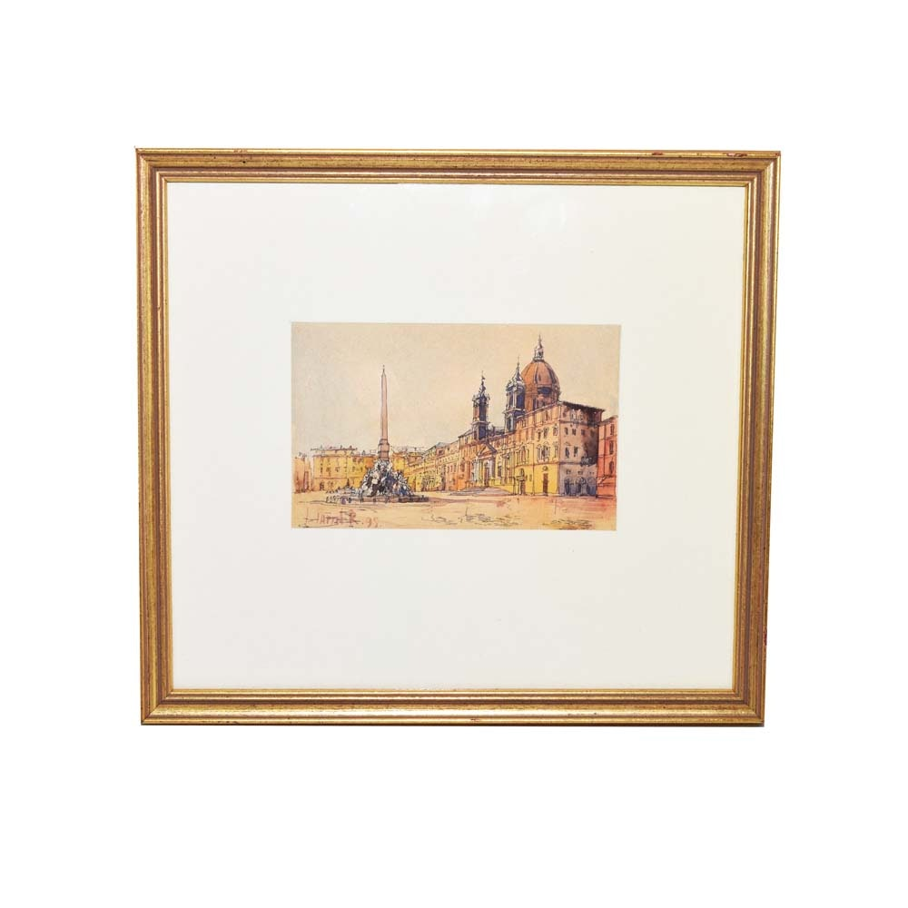 St. Peters Basilica Hand Colored Etching