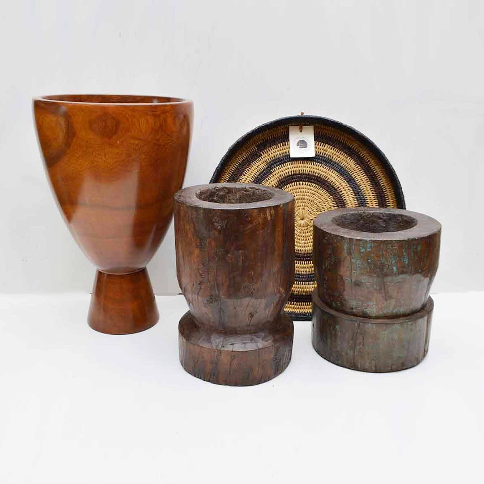 Carved Wooden Bowls and Woven Swazi Tray
