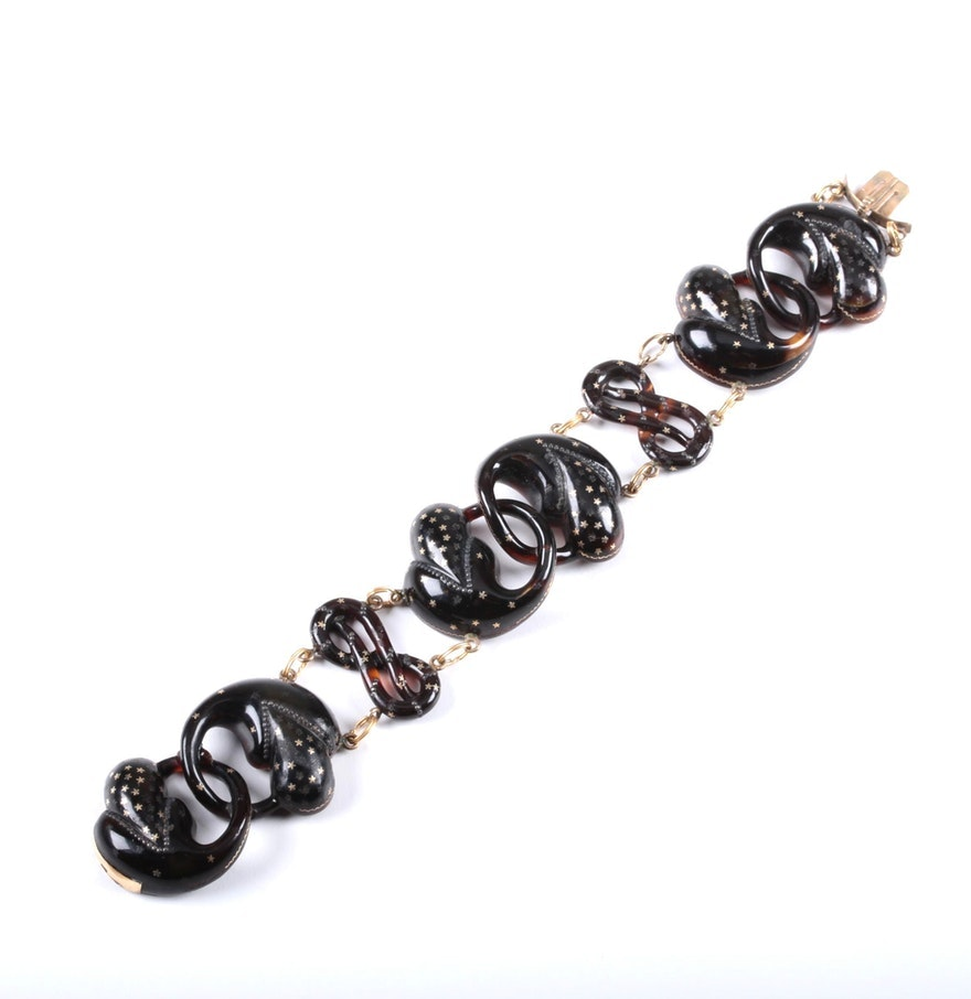 Period Victorian Tortoise Bracelet with Gold Filled Stars
