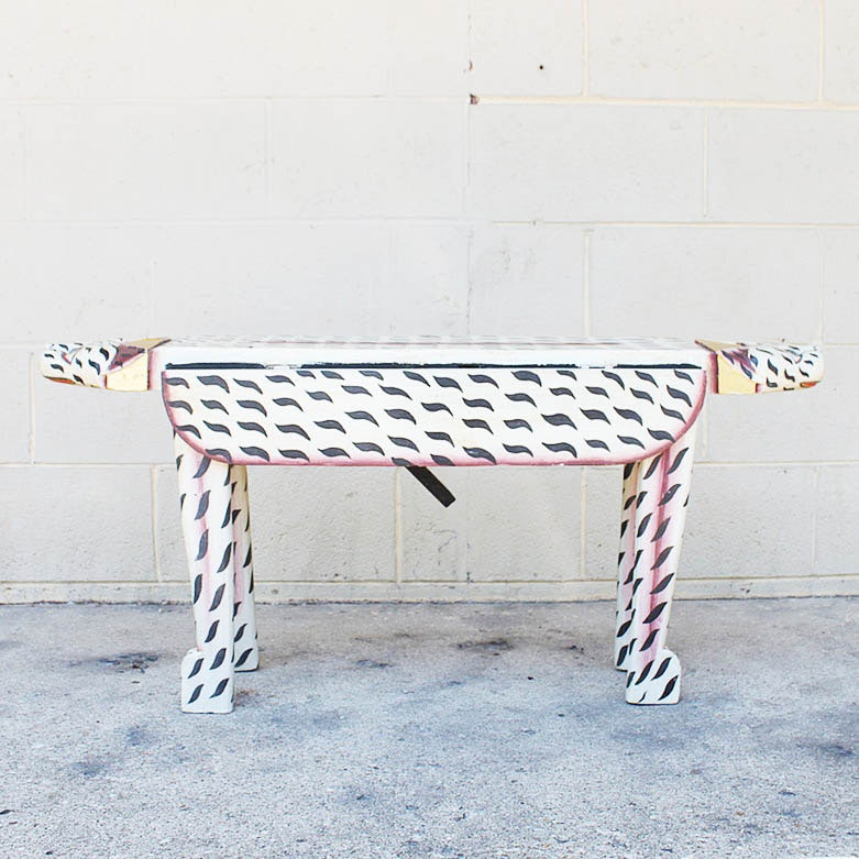 Folk Art Style Cat-Form Accent Table With Drop Leaves