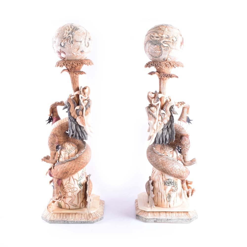 Camel Bone Dragon Sculptures by Pickard