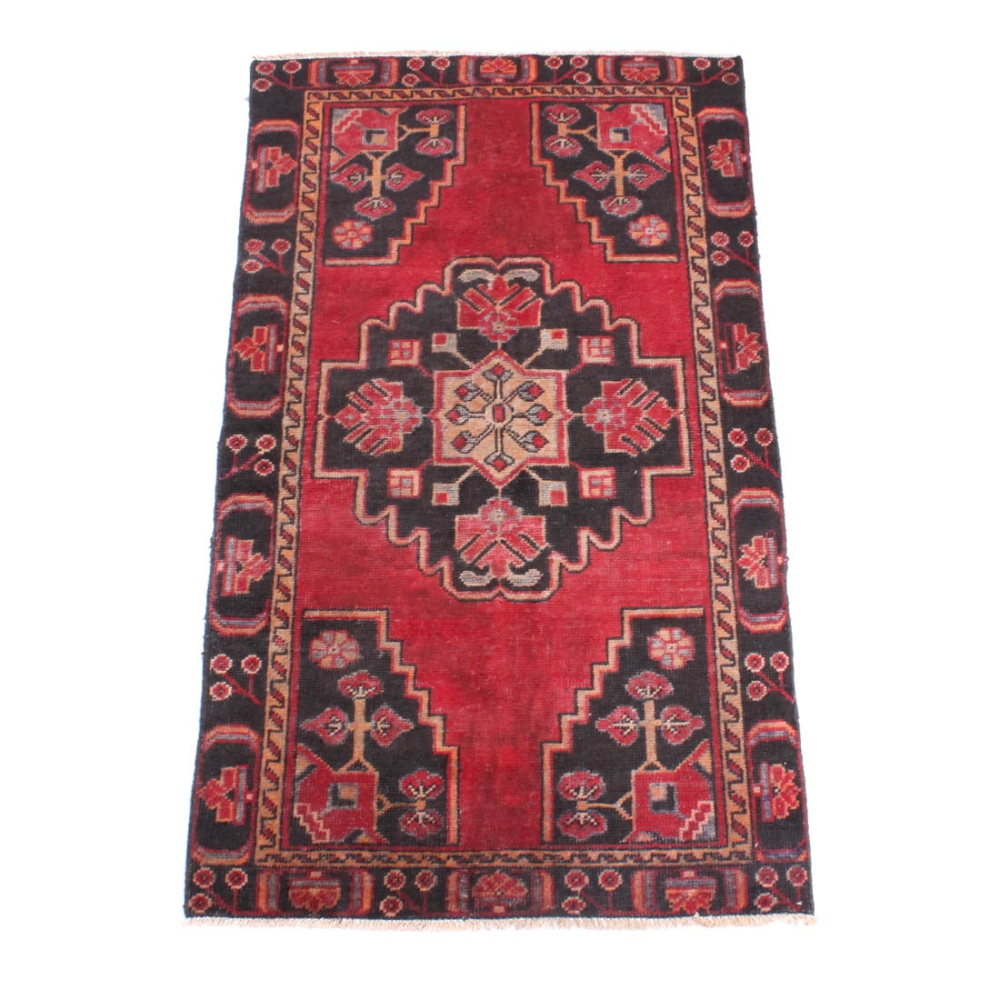 Antique Hand Knotted Persian Zanjan Area Rug