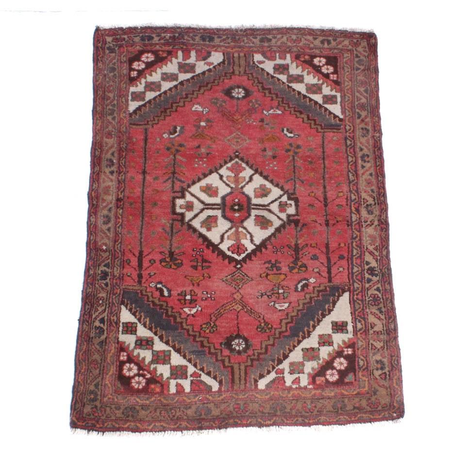 Semi-Antique Hand Knotted Persian Zanjan Area Rug