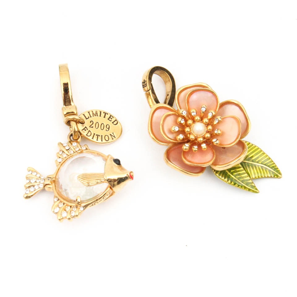 Juicy Couture Gold Plated Angel Fish and Hibiscus Charms