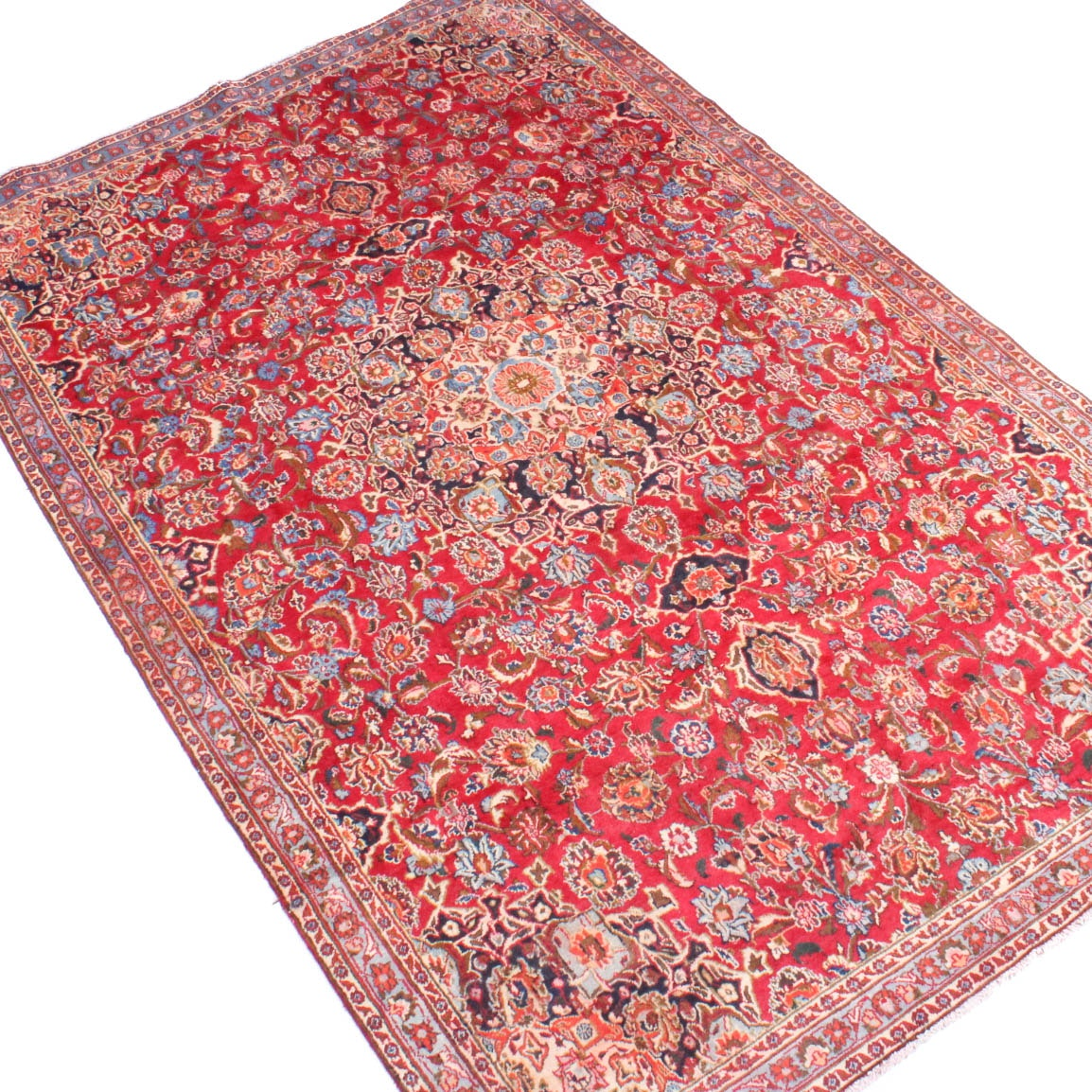 Semi-Antique Hand Knotted Persian Mashad Area Rug