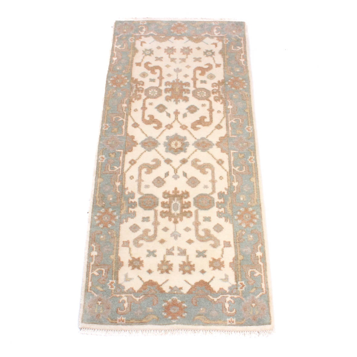 Hand Knotted Indo-Turkish Oushak Runner