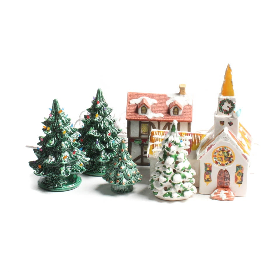 Vintage Ceramic Christmas Trees and Village
