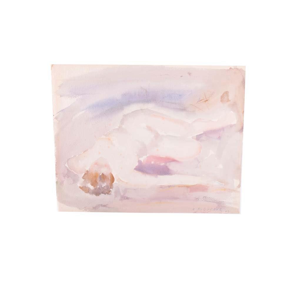 A. Figueroa Original Nude Watercolor