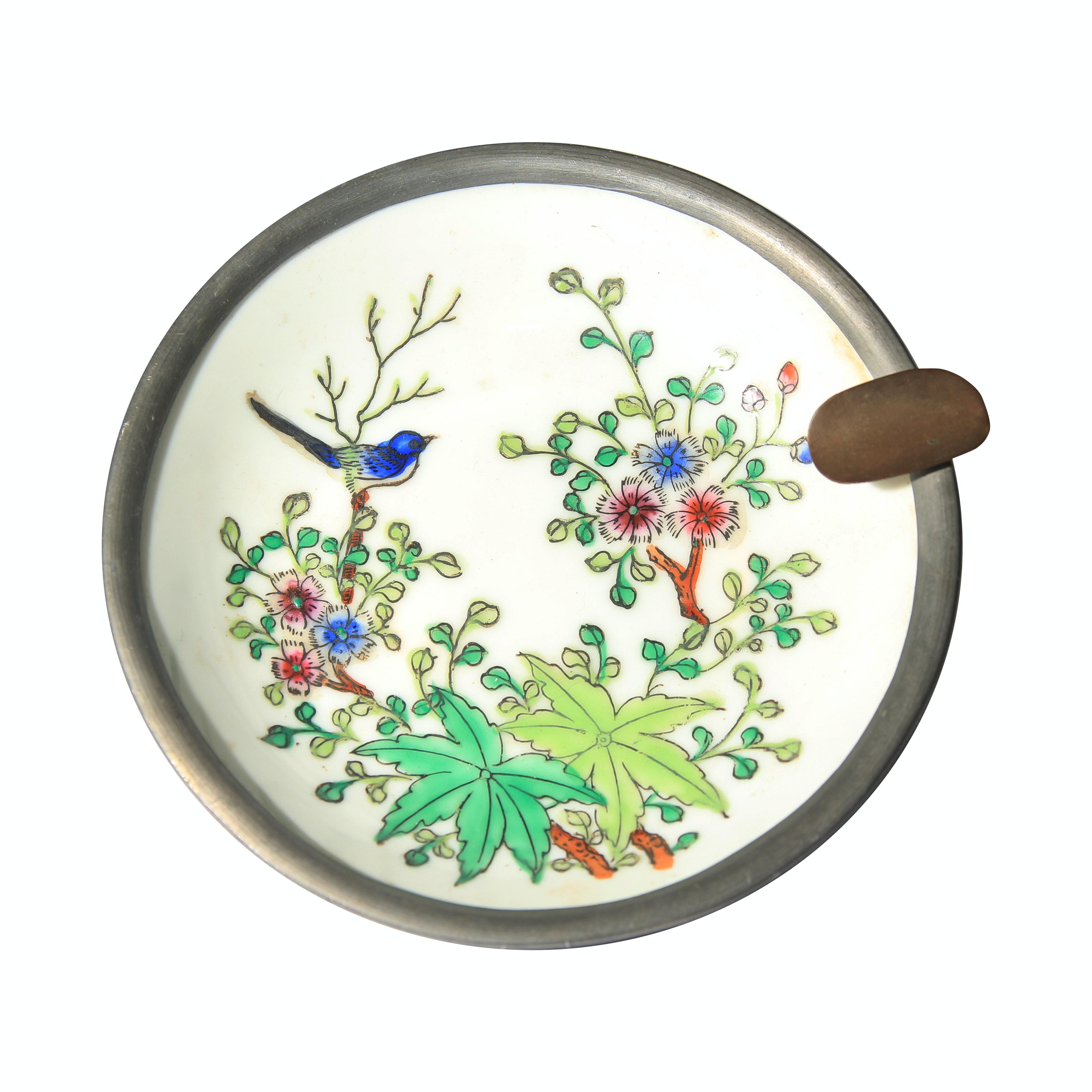 Vintage Japanese Porcelain Ware and Pewter Ashtray