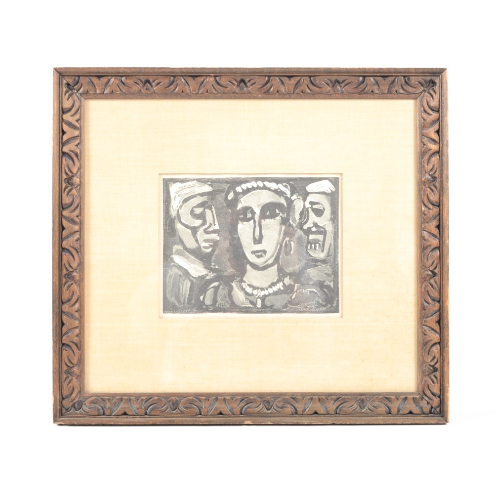 "After Georges Rouault Wood Engraving ""Les Visages"""
