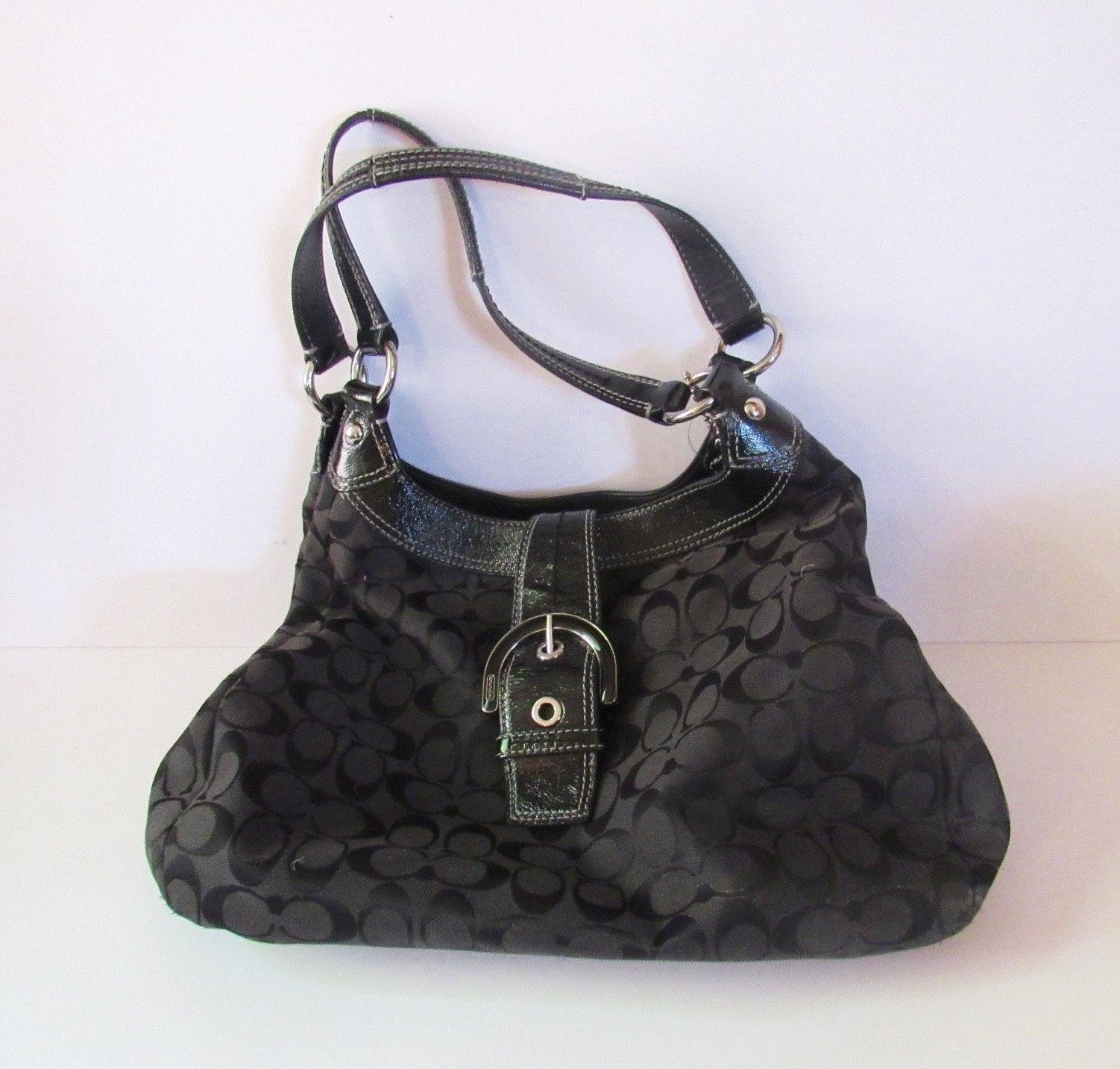 Coach Black Patent Leather and Fabric Handbag