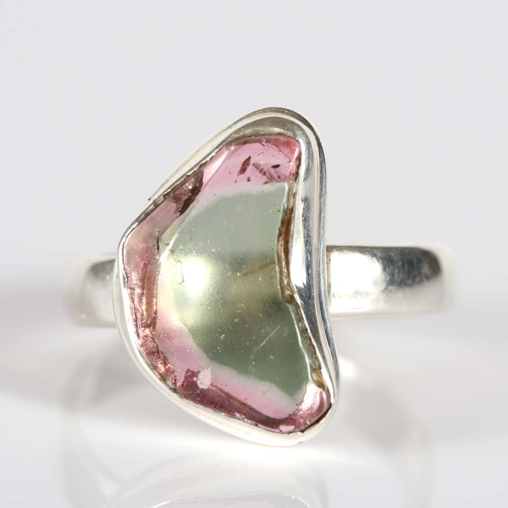 Sterling Silver Free Form Watermelon Tourmaline Ring
