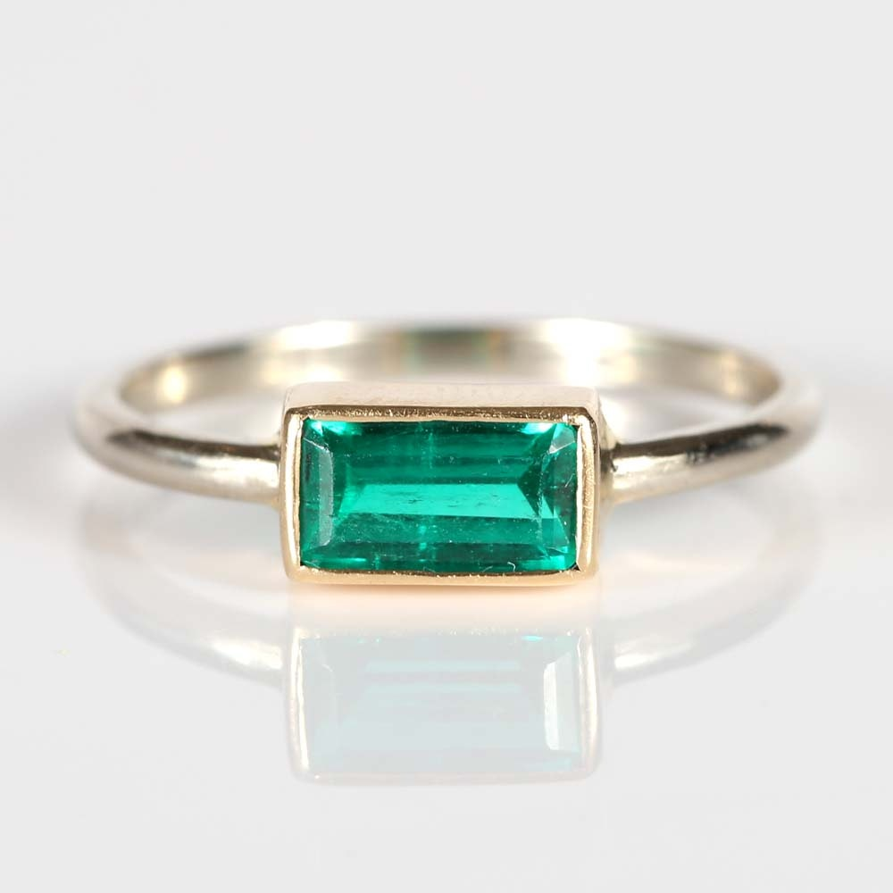 14K Yellow and White Gold Emerald Ring