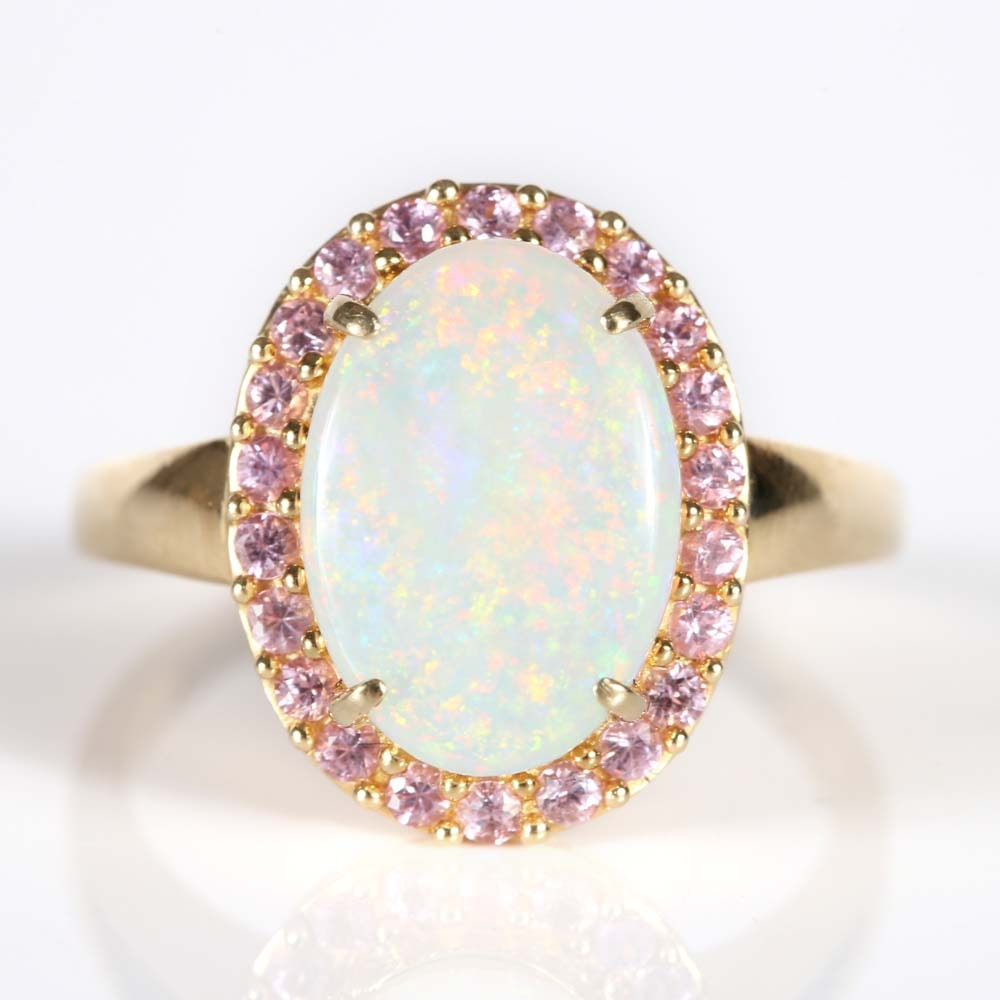 "14K Yellow Gold Opal and Pink Sapphire ""Halo"" Ring"