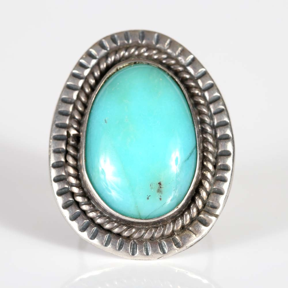 Sterling Silver Double Frame Turquoise Ring