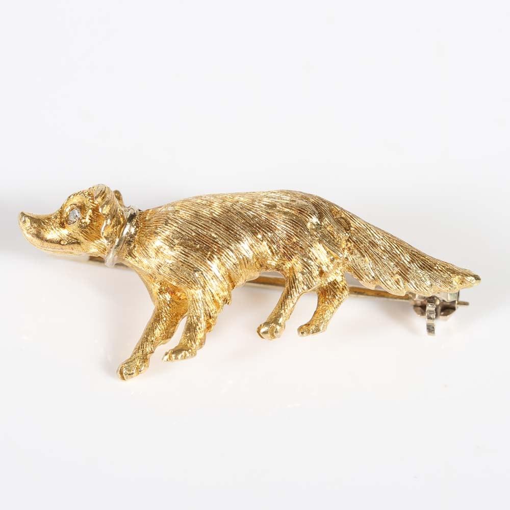 18K Yellow Gold Diamond Dog Brooch