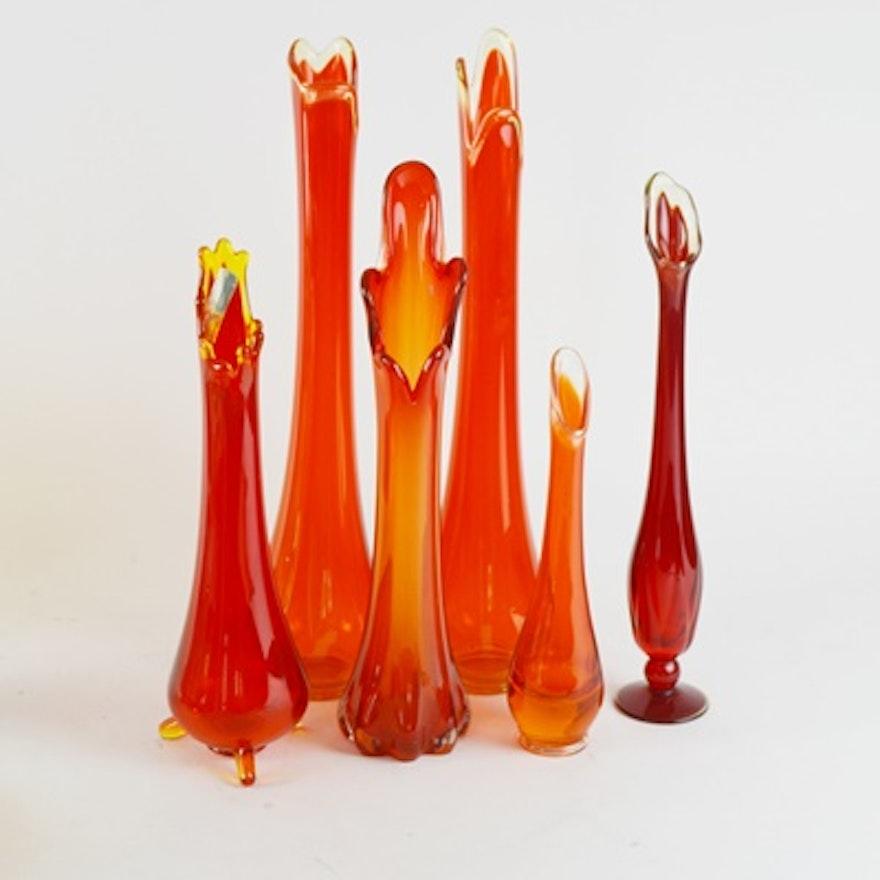 Mid Century Modern Red Art Glass Vase Collection Ebth