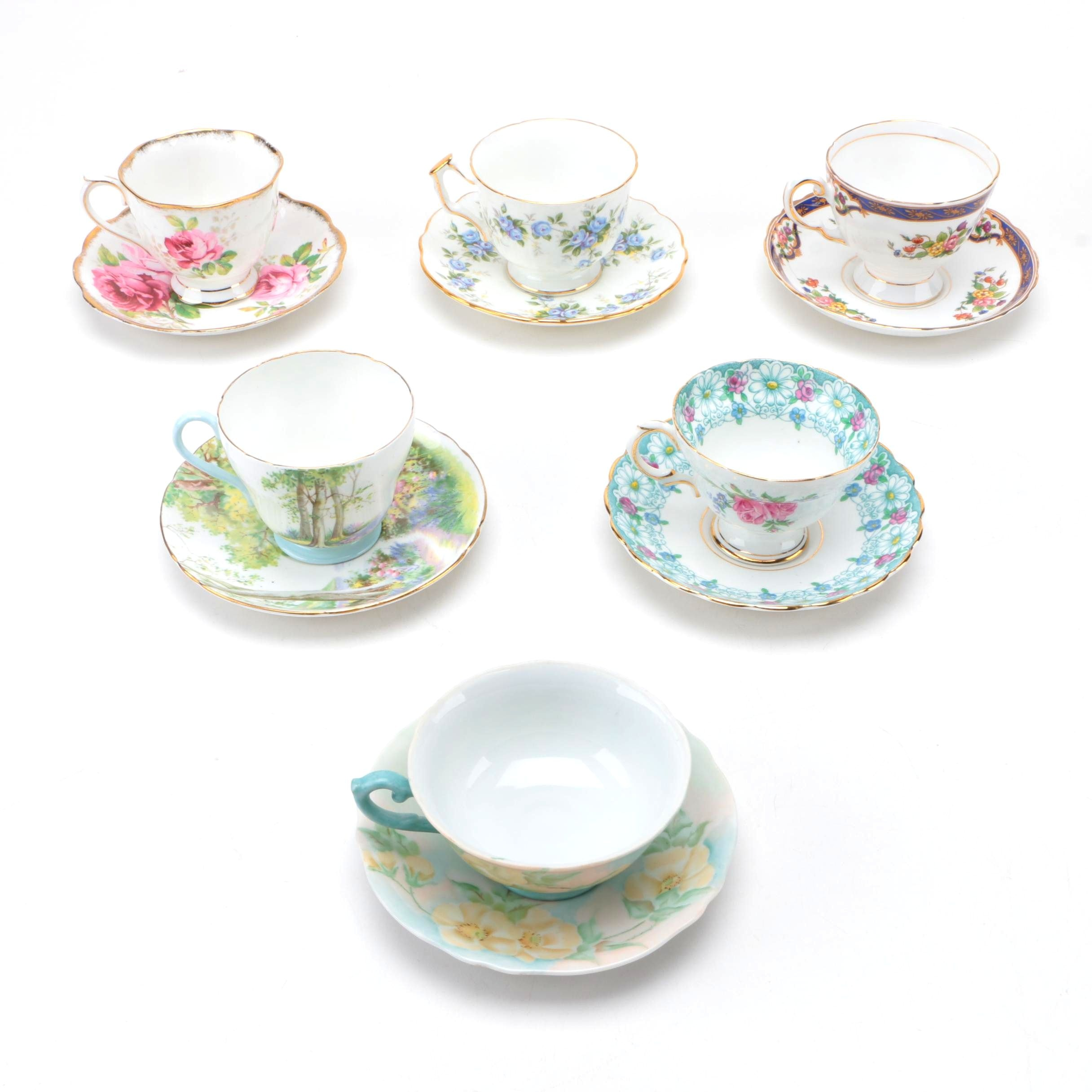 Six Sets of Porcelain Teacups and Saucers