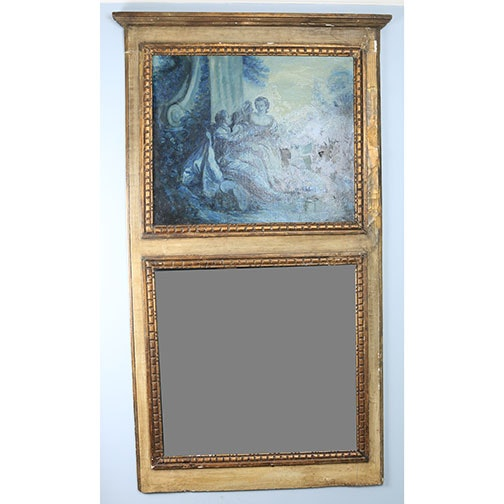 Vintage Two Panel Wall Mirror With Oil Painting