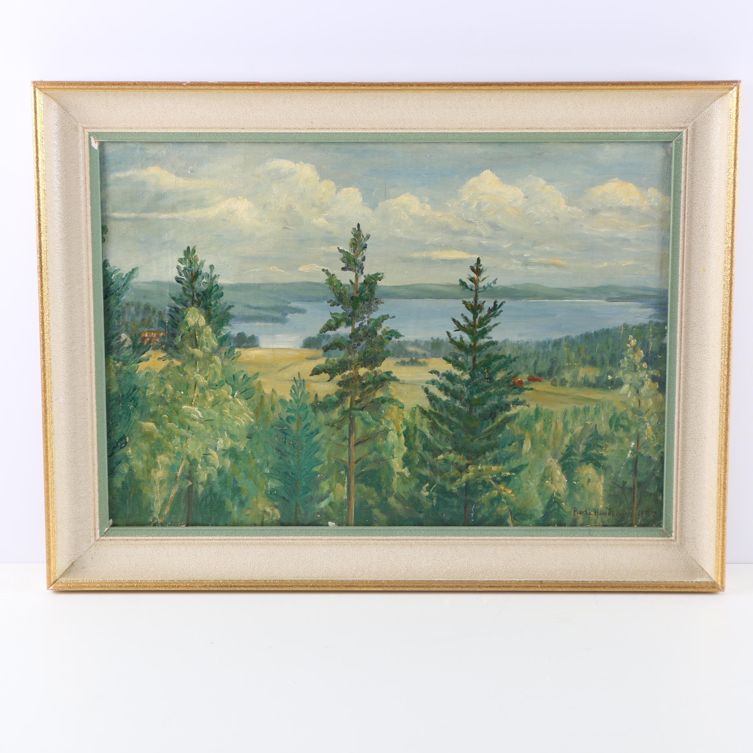 Signed Original 1937 Oil Landscape on Canvas