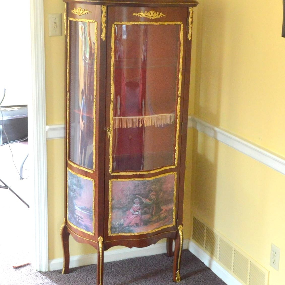Louis XV Style Tall Curio Display Cabinet