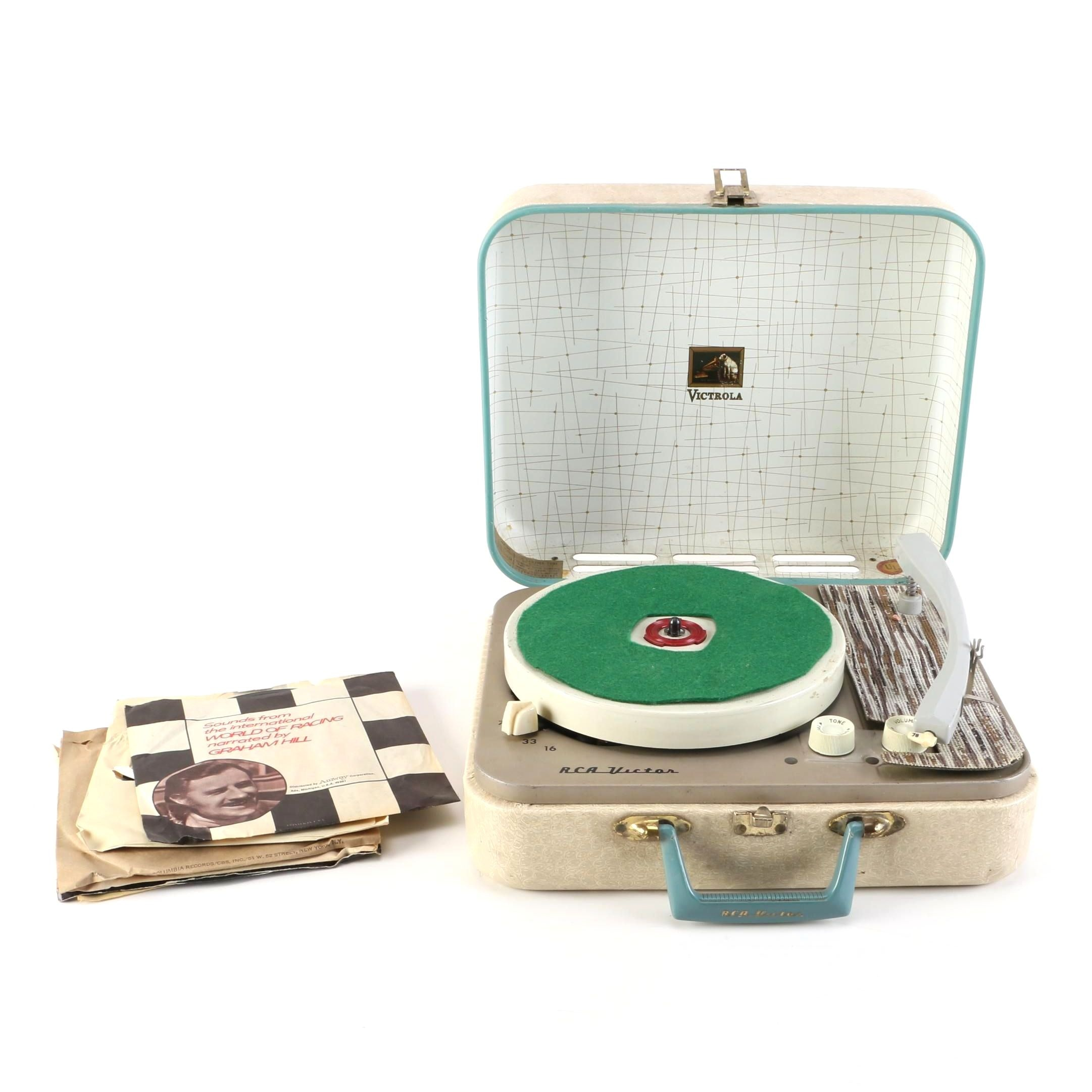 RCA Victor Portable Record Player and 45 rpm Singles