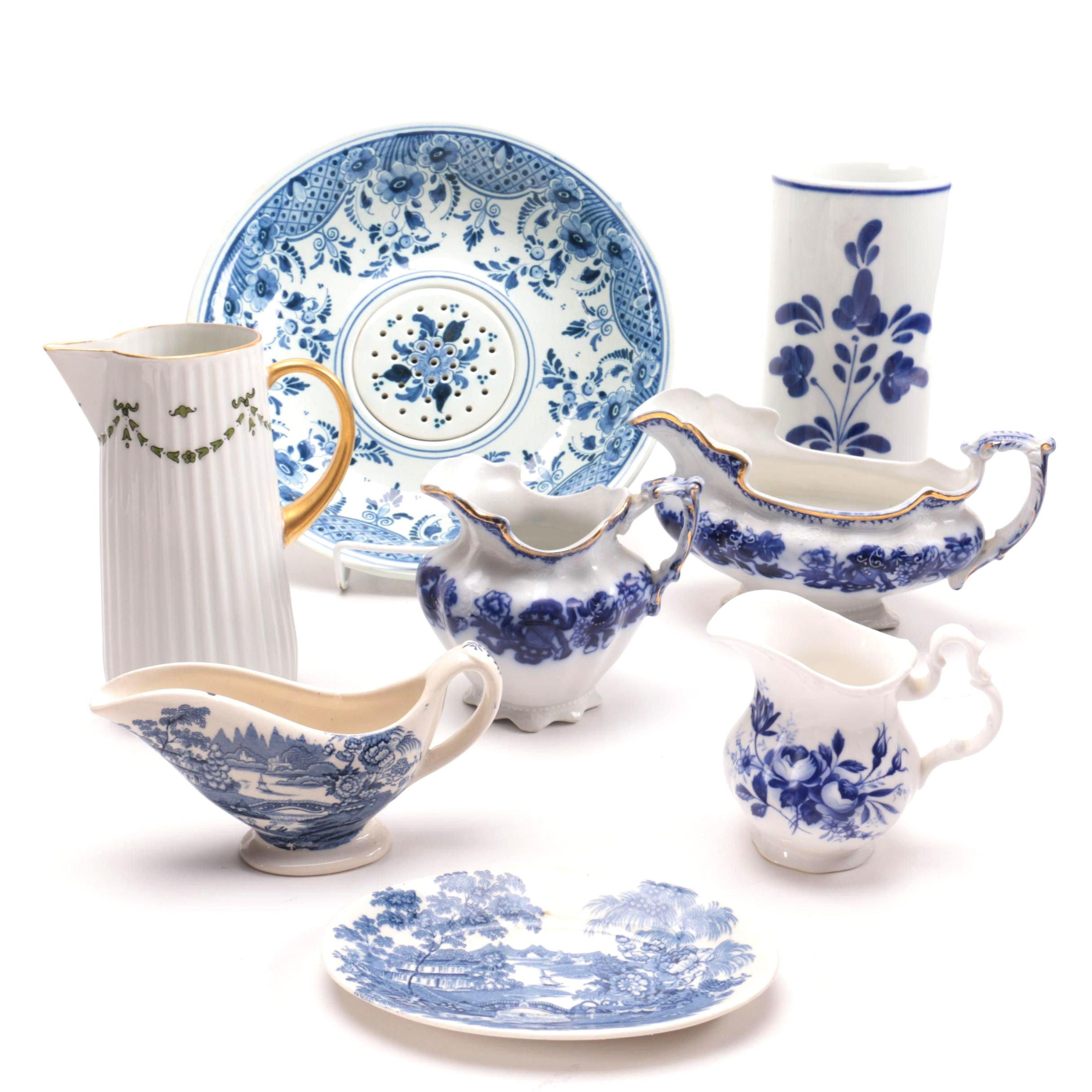 White and Blue Porcelain Serveware Collection