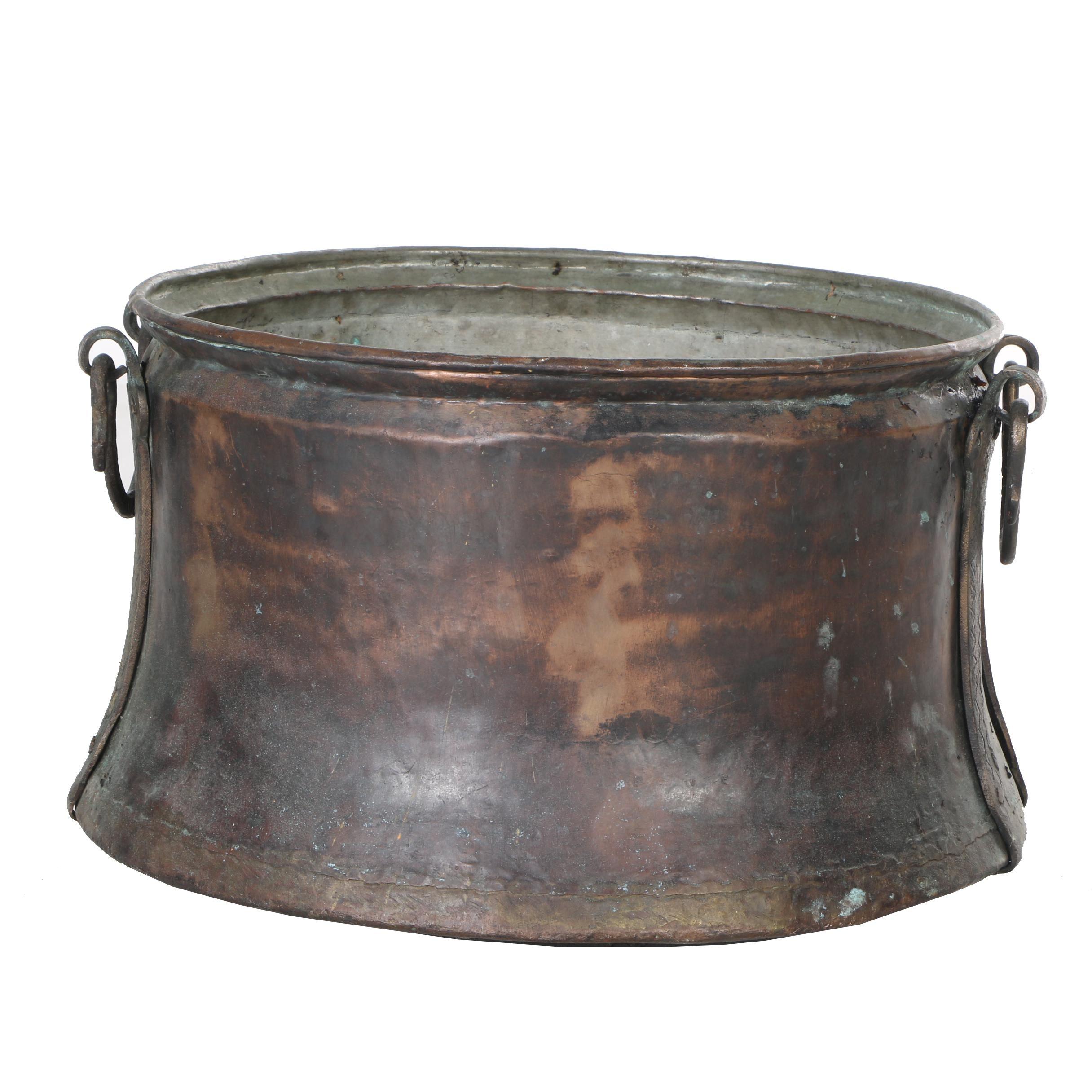 Copper Bucket with Brass Handles