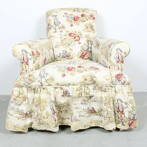 Toile Upholstered Lounge Chair