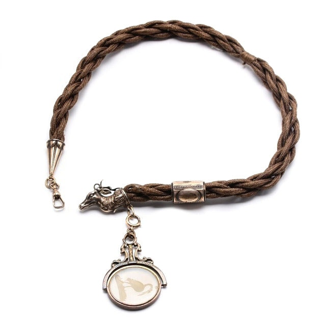 Victorian Braided Hair Watch Fob with Carved Quartz and Stag Cap