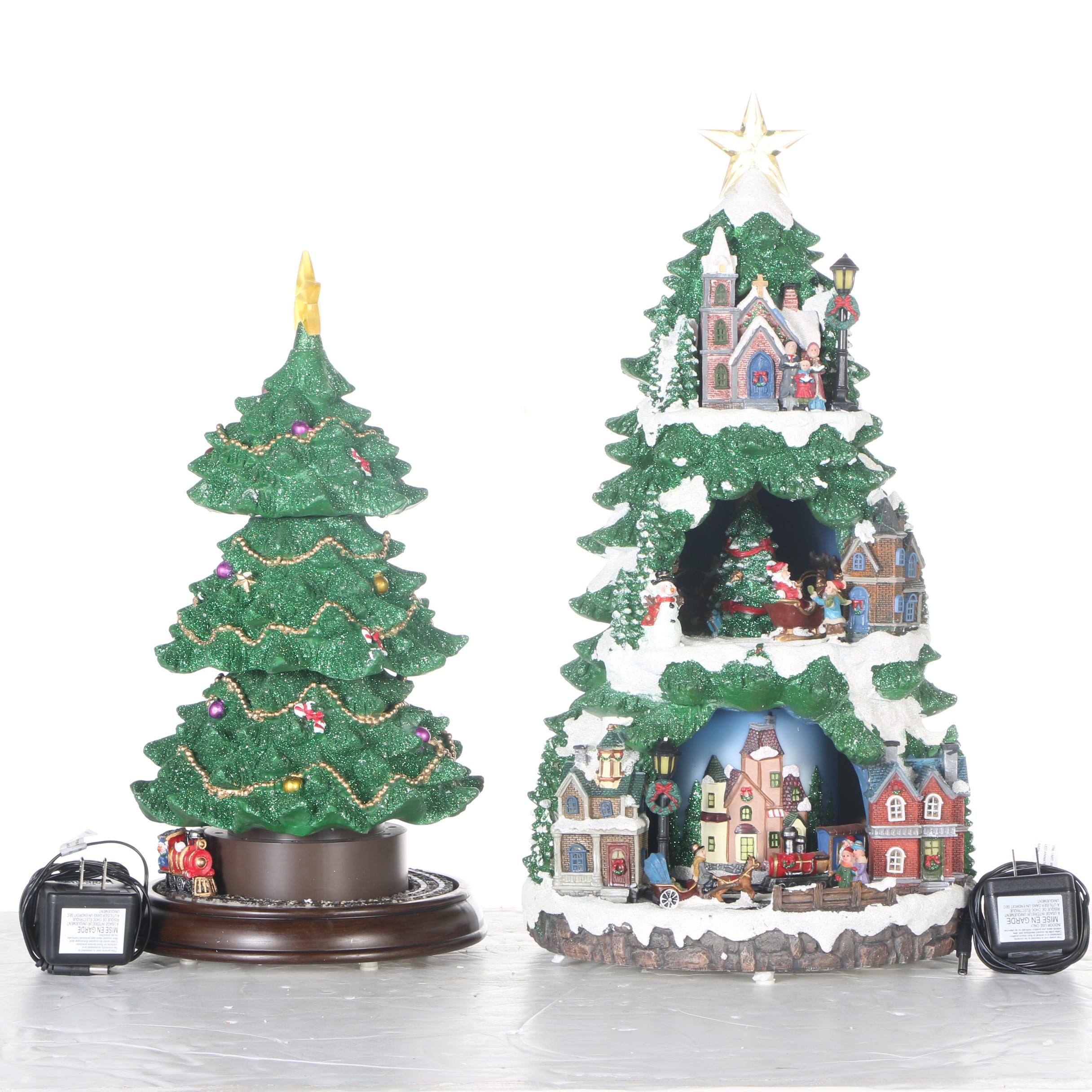 Two Lighted Christmas Tree Decorations