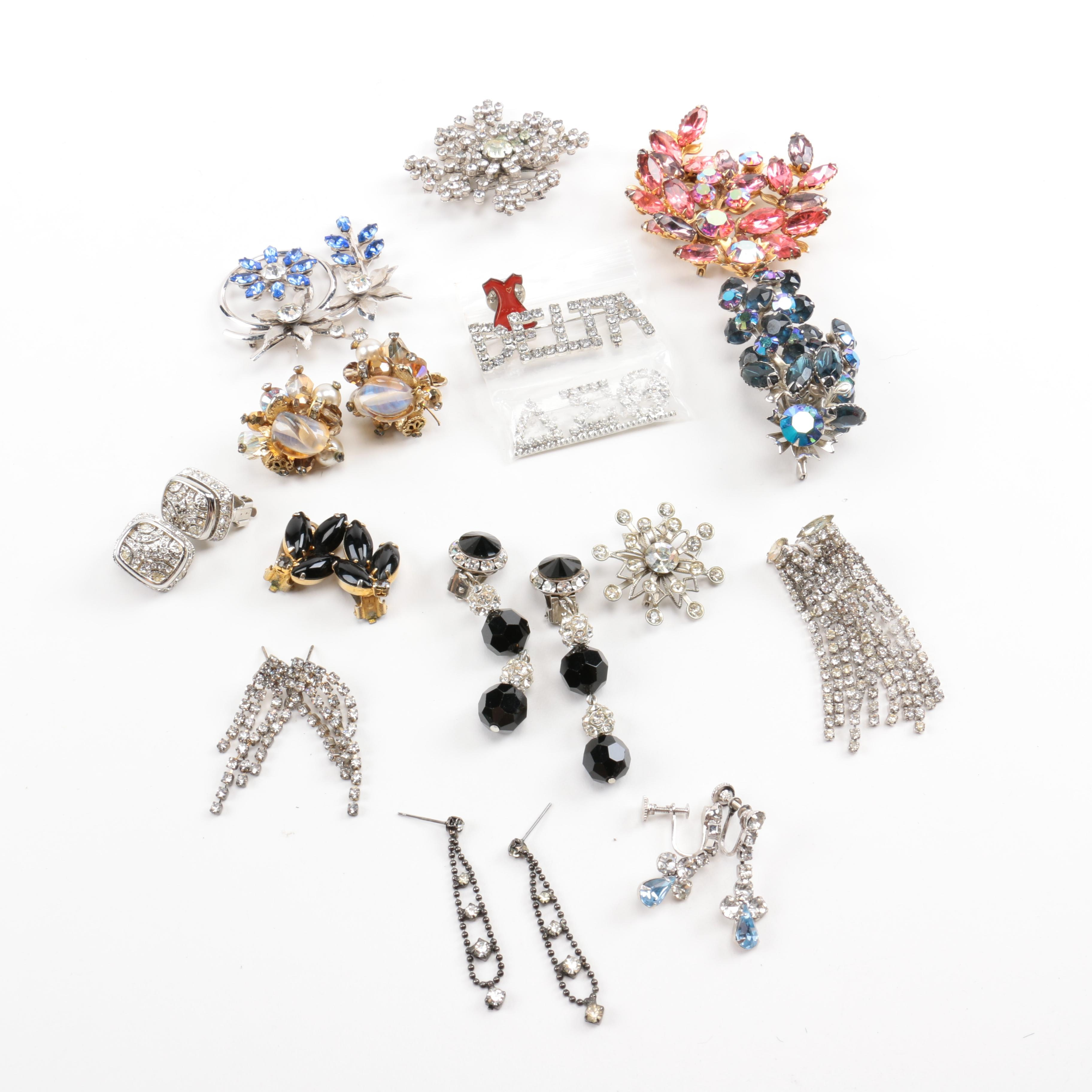 Vintage Brooches and Earrings Including Vendome